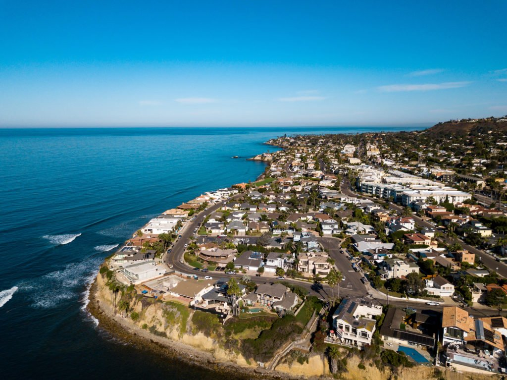 Aerial view of San Diego real estate properties in Pacific Beach